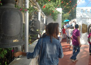Gongs at Golden Mount, New Year Temple Tour in Bangkok, Southeast Asia