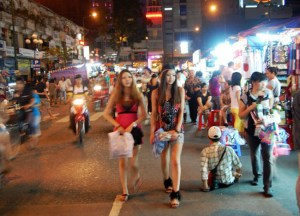 Cute Girls at Ben Thanh Night Market, Ho Chi Minh City, Southeast Asia