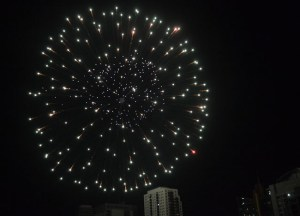 Fireworks above Condo, New Years Day in Bangkok, Southeast Asia