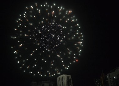 Fireworks for New Year, Thingyan Water Festival in Yangon, Myanmar Songkran