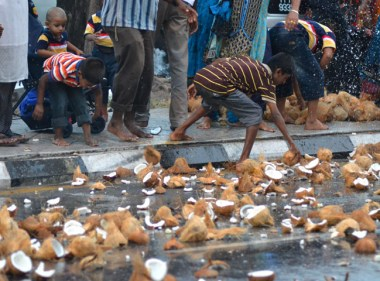 Coconut Smash at Third Day of Thaipusam in Penang, Southeast Asia