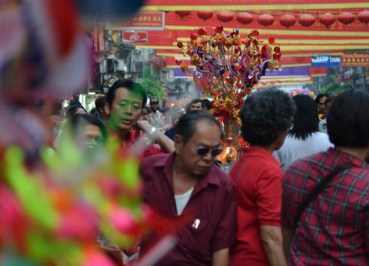 Crowded Streets Chinese New Year in Bangkok Chinatown, Southeast Asia