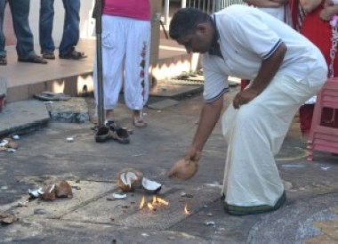 Breaking Coconut, Quiet Thaipusam in Georgetown Penang, Southeast Asia