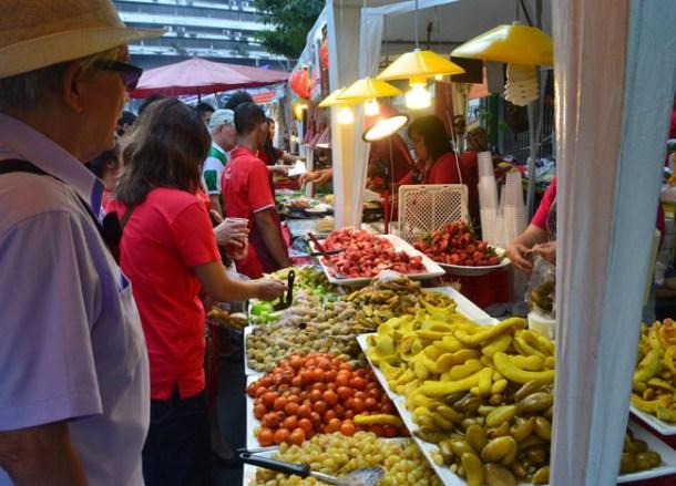 Snacking at Food Stalls, Chinese New Year in Bangkok Chinatown, Yaowarat