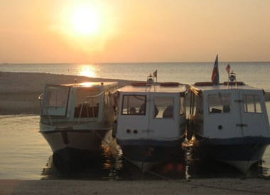 Boats Turtle Island Sunset Selingan, Borneo Eco-Tourism Sabah Malaysia