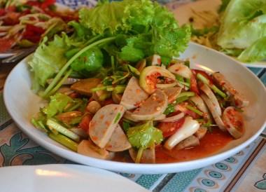 Yum Moo Yor, Thai Isaan Food, Eating in Northeastern Thailand