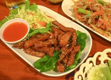 Thai Pork Jerky, Thai Isaan Food, Eating in Northeastern Thailand