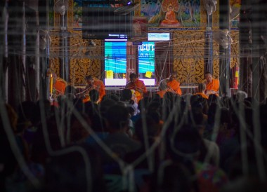 Monks in Temple, String Bracelets Thailand, Sai Sin Sacred Thread, Asia