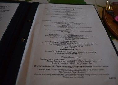 Menu Prices, Cafe Lotus, Best Restaurants in Ubud Centre, Bali Food