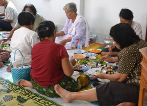 Guests Eating, Buddhist Monk Blessing Ceremony for Health, Thailand