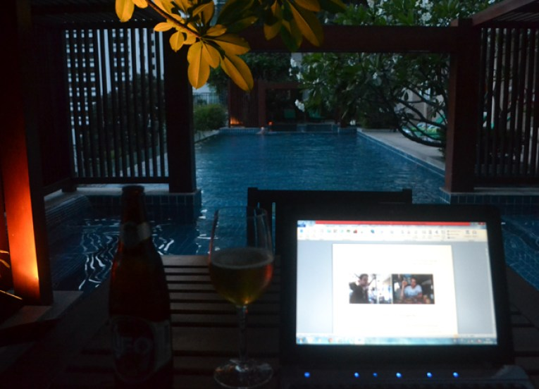 Evening at pool, Cost of living in Bangkok on a budget, sukhumvit area