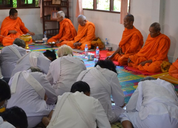 Nine Monks, Buddhist Monk Blessing Ceremony for Health, Thailand, Asia