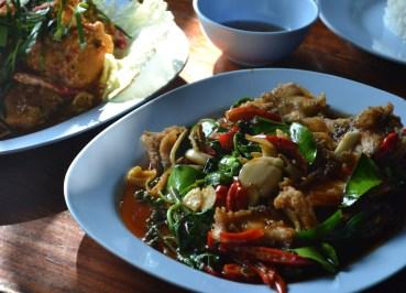 Pla Pad Cha Tawan Ngam, Nang Rong Food Tour in Isan Eating in Thailand