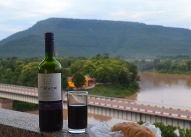 Balcony, Wine, Baguette, Things to do in Pakse City Southern Laos Asia