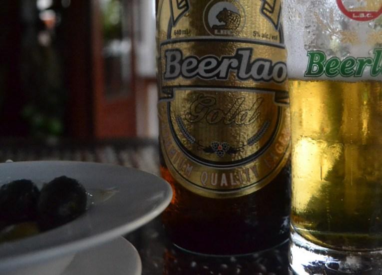Beer Lao Gold Daosavanh Restaurant in Savannakhet, French food in Laos