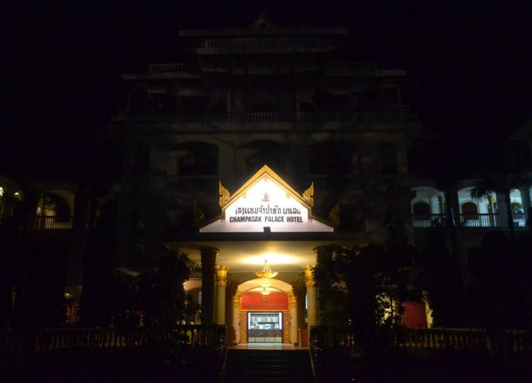 Pakse Palace at Night, Champasak Palace Hotel Pakse Hotel Review Laos