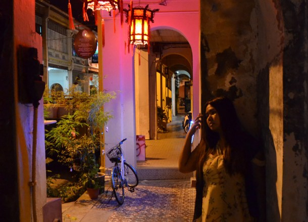 Muntri Street at Night, Ryokan Chic Hostel, Georgetown, Penang Review