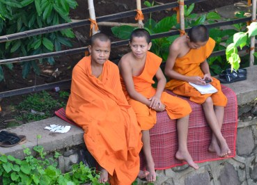 Student Monks at Wat Luang, Things to do in Pakse City Southern Laos