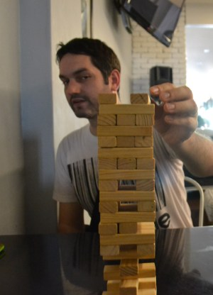 Playing Jenga, Games, Ryokan Chic Hostel, Georgetown, Penang Review