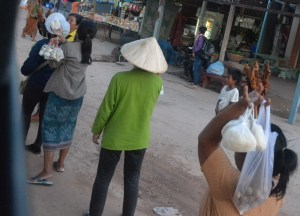 Local Hawkers, Savannakhet to Pakse by Bus, Travel in Southern Laos