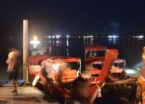 Boats at Pier, Laem Hin Seafood Phuket Floating Restaurants, Thailand