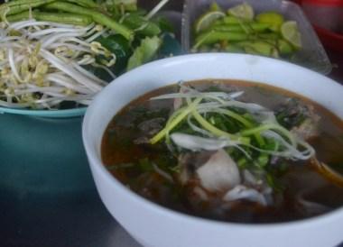 Lao Noodle Soup Breakfast, French food in Laos, Eating in Savannakhet