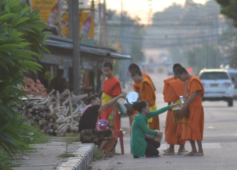 Early Morning Monks, Things to do in Savannakhet Laos Southeast Asia