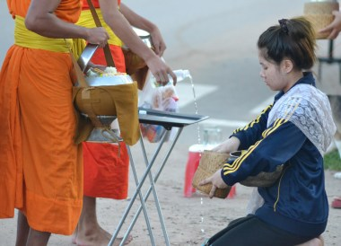 Monk Blessing Water, Things to do in Savannakhet Laos Southeast Asia
