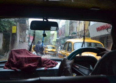 Taxi in Monsoon Rain, Weather in Monsoon Season in Kolkata, West Bengal, India