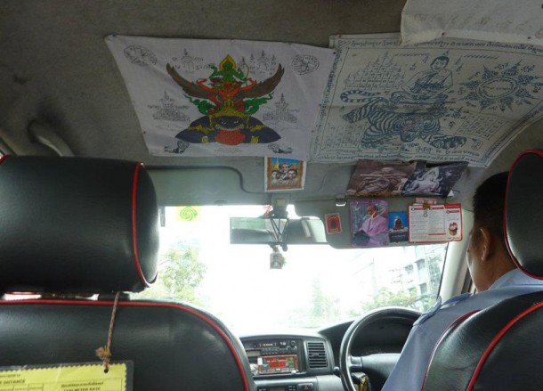Blessed Buddhist Flags, Metered Bangkok Taxis, Travel in Bangkok