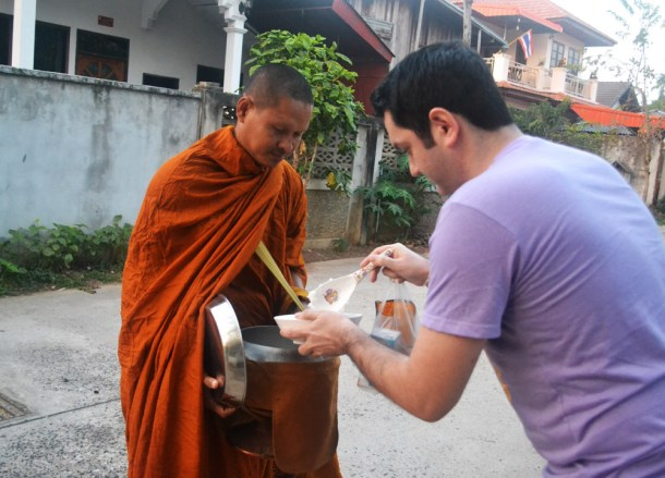 Offering Rice to Monk, Isaan Tours and Phanom Rung