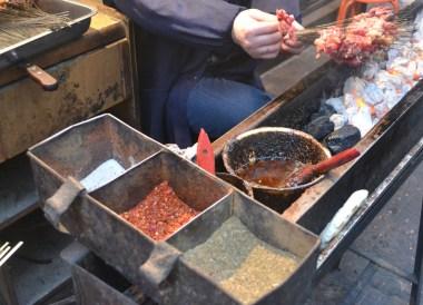 Chinese Marinated Kebabs, Eating in Xian Muslim Quarter, Street Food