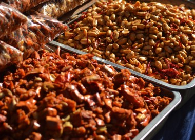 Dry Chilli Peanut Mix, Eating in Xian Muslim Quarter, Street Food