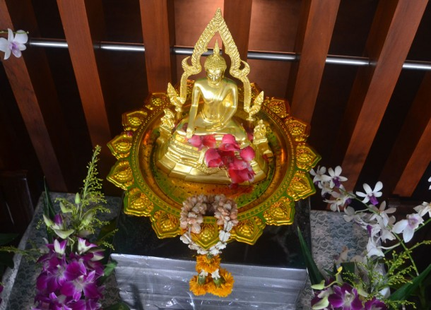 Small Golden Buddhist Altar, Songkran Temple Ceremony, Song Nam Pra