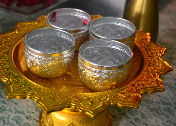 Small Metal Water Cups, Songkran Temple Ceremony, Song Nam Pra