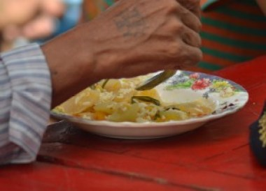 Free Food and Noodles, Thingyan Water Festival in Yangon, Myanmar Songkran