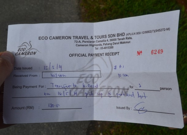 Tickets for Travel, Cameron Highlands to the Perhentian Islands