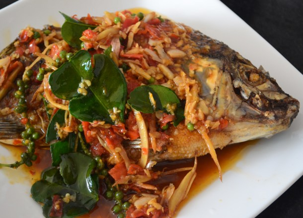 Pad Cha Pla Tod, Thai fried fish, Thailand