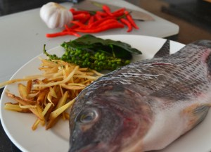 Pad Cha Pla Ingredients, Thai fried fish, Thailand