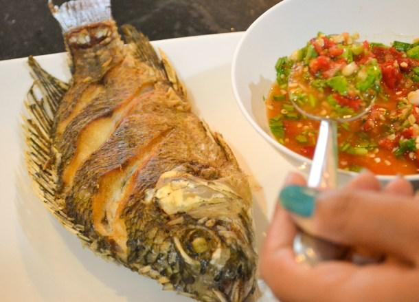 Pla Tod Nam Jim, Thai fried fish, Thailand