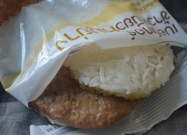 Sticky Rice Burger, 7-11 Food in Bangkok Thailand