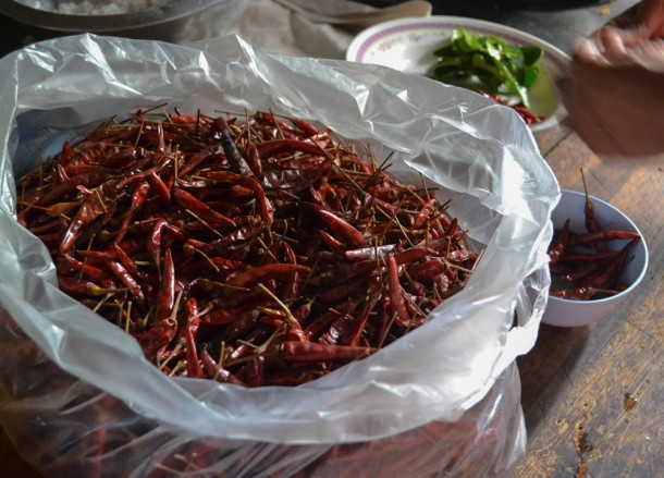 Dried Chillies, Living in Rural Thailand, Isaan North East Thailand