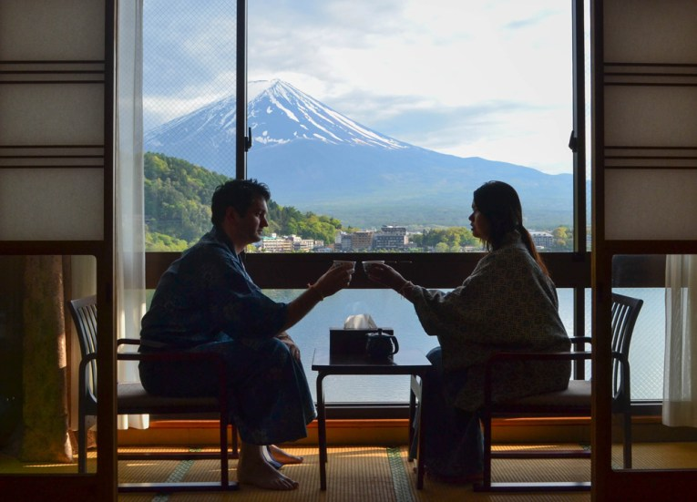 Room with Views, Ryokan Hotels at Mount Fuji, Lake Kawaguchiko Japan