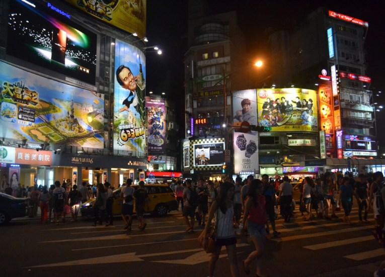 Ximending at Night, Tourist in a Typhoon in Taipei, Taiwan