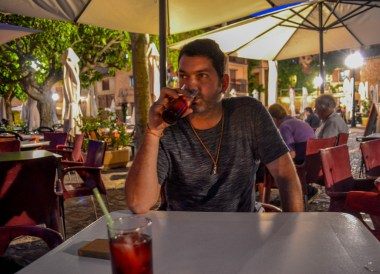 Drinking Sangria, Alquezar Huesca, Northern Spain, Medieval Village