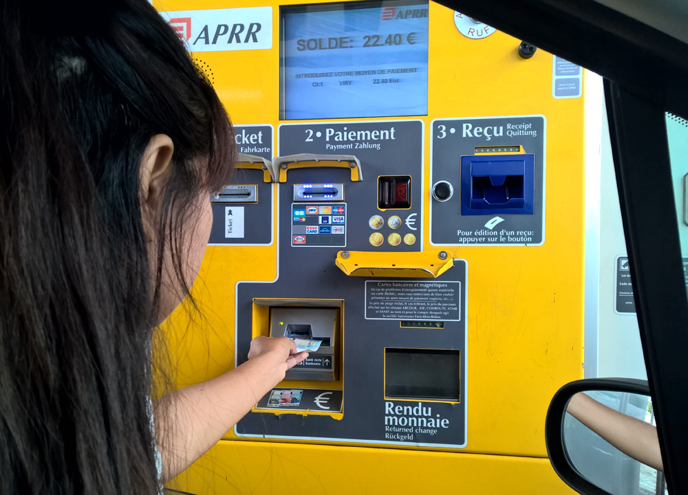 Paying at toll Booths in France on Road Trip