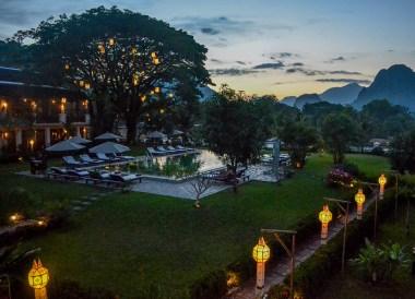 Sunset Views, Luxury Vang Vieng Hotel Riverside Boutique Resort Spa