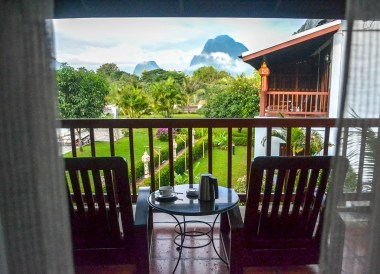 Balcony Views, Luxury Vang Vieng Hotel Riverside Boutique Resort Spa