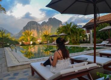 Mountain Karst Views. Luxury Vang Vieng Hotel Riverside Boutique Resort Spa