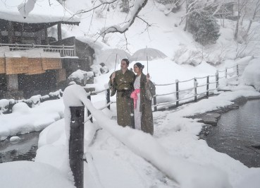 Travel Bloggers, Osenkaku Ryokan Takaragawa Onsen in Winter Snow